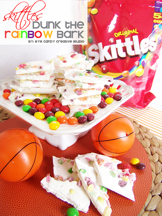 special treat, basketball bark, dunk the rainbow, skittles bark