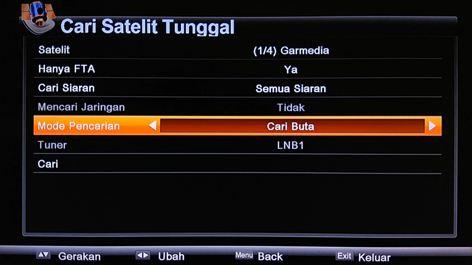 Cara Scan Channel Garmedia di LGsat Stars HD