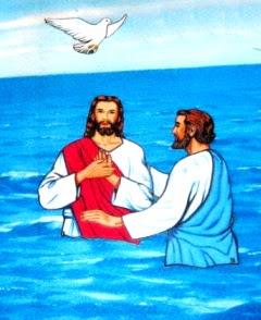 Dibujo alusivo al Bautismo de Jesús a color