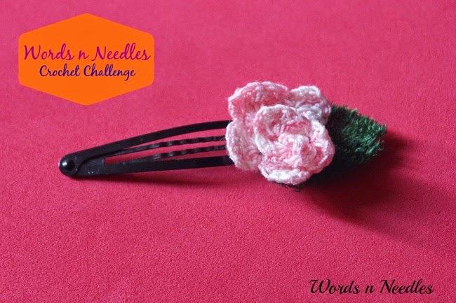 rose crochet hair clip simple yarn hairclips