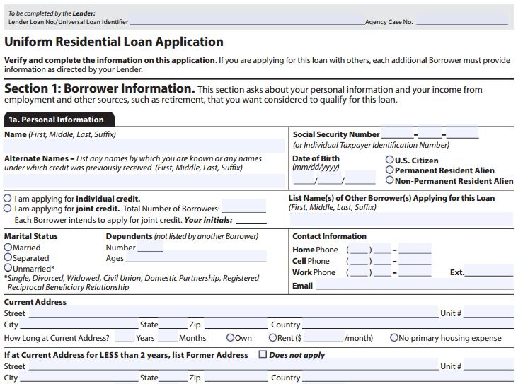 URLA  Uniform Residential Loan Application Form on example completed, new enhancements, rural development, sample data, clip art, freddie mac form, already filled,
