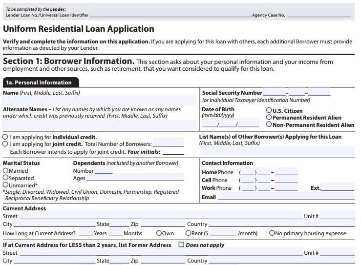 URLA  Uniform Residential Loan Application Form Gmi on
