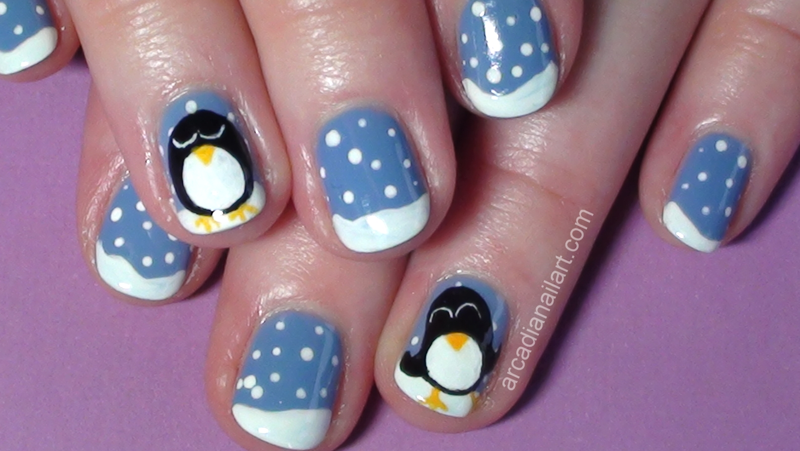 One nail to rule them all: penguin snowscape for tesco + tutorial.