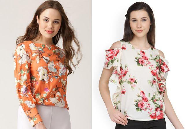 Девушка натуральной внешности с округлым цветочным принтом на блузке