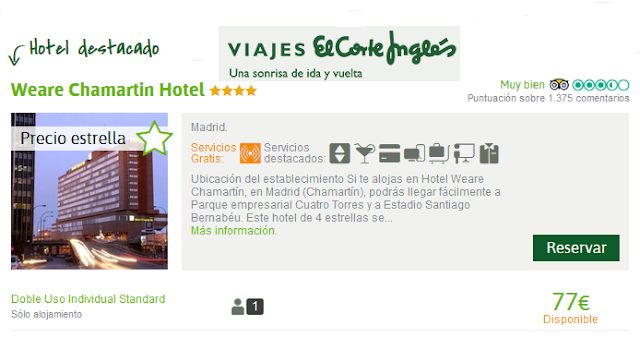 Viajes El Corte Inglés oferta hotel Weare Chamartin