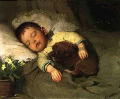 Спящий мальчик картина Charles Burton Barber