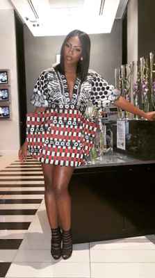 Music star Tiwa Savage wore this outfit designed by Deola Sagoe