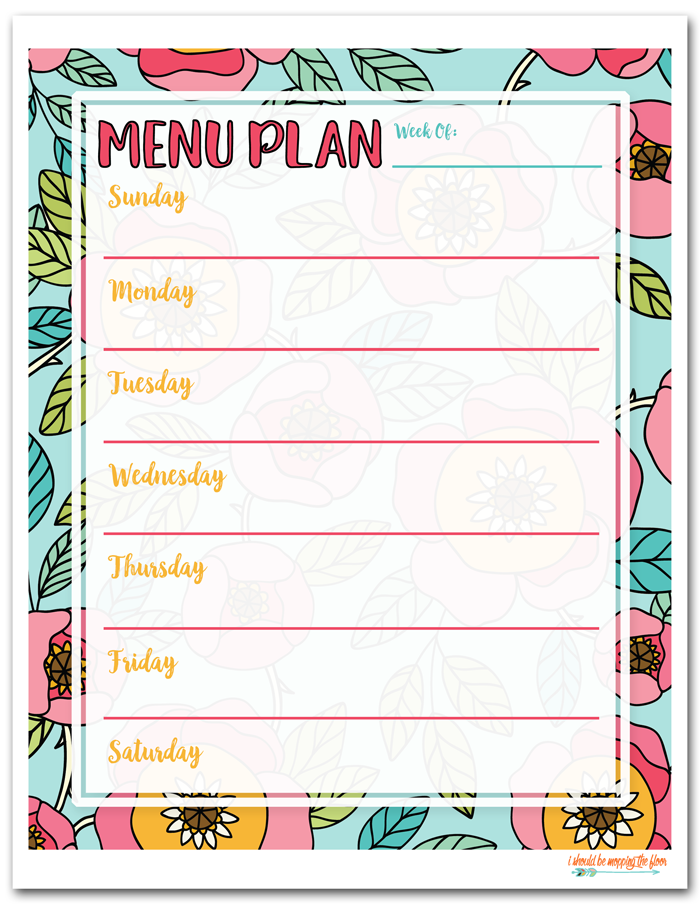 graphic relating to Printable Dinner Planner identified as Cost-free Printable Menu Method i should really be mopping the area
