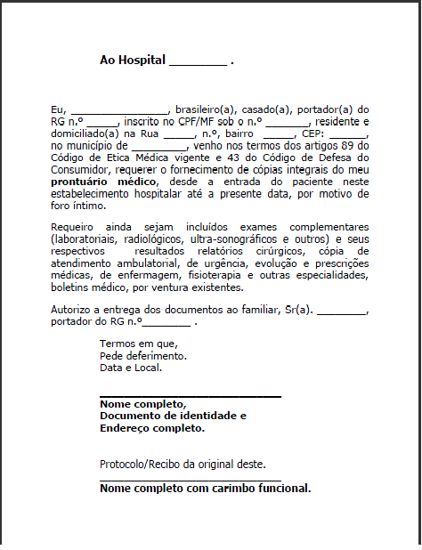 Pedido de Prontuário Médico - MODELO