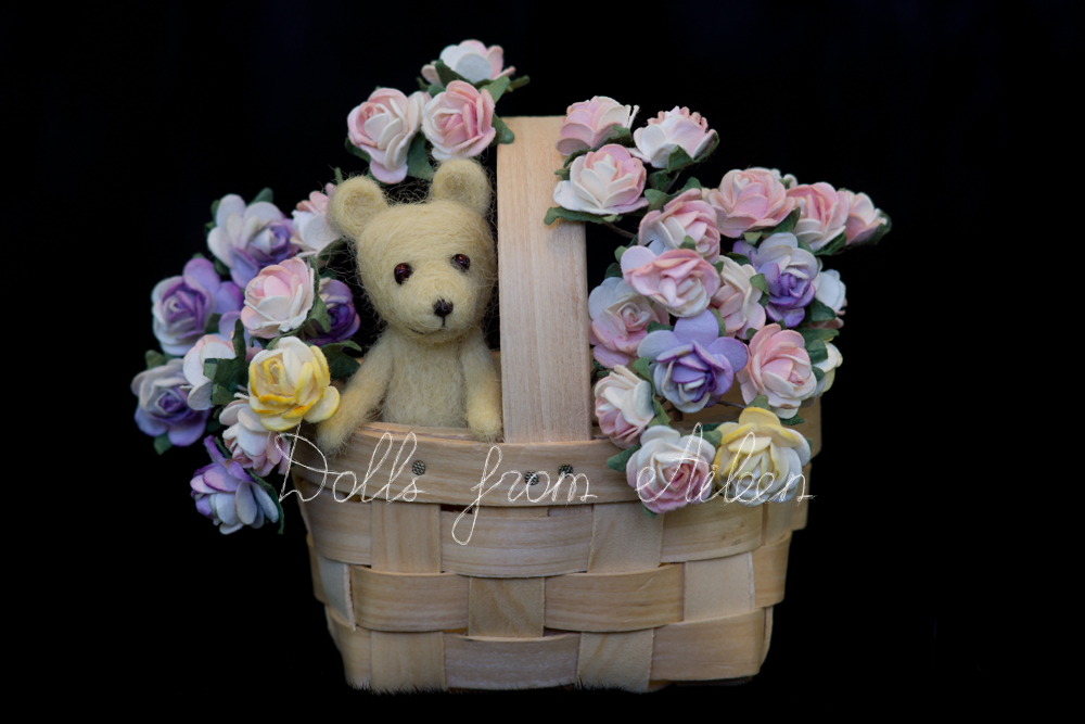 OOAK mini needle felted teddy bear with basket of flowers