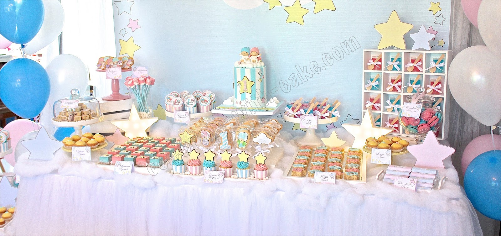 Celebrate with cake little twin stars dessert table for Anpanman cake decoration