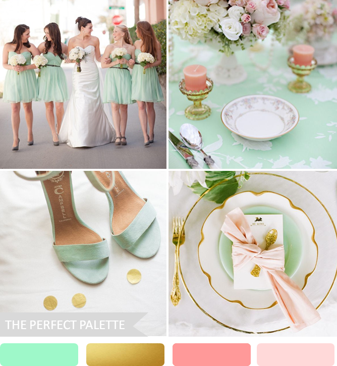 Mint, Peach And Antique Gold