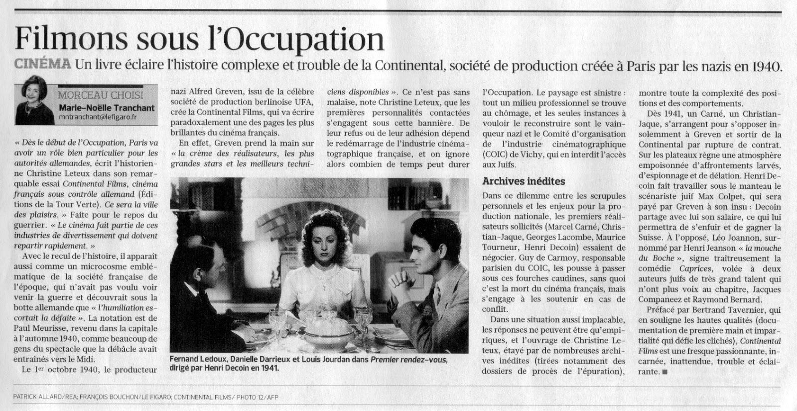 continental films cinema francais sous controle allemand