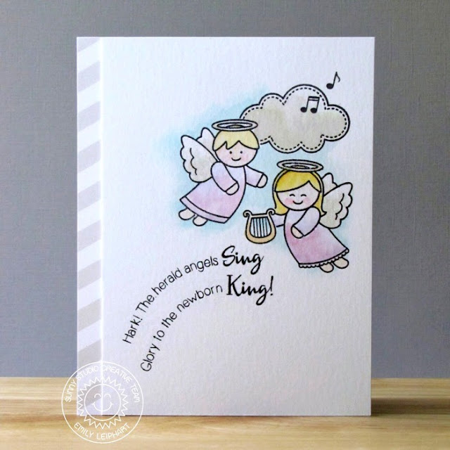 Sunny Studio Stamps: Little Angels Watercolored Holiday Christmas Card by Emily Leiphart.