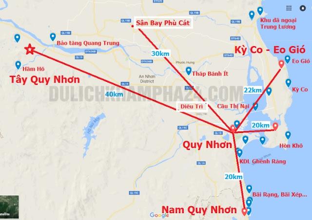Bản đồ các điểm Du Lịch Quy Nhơ