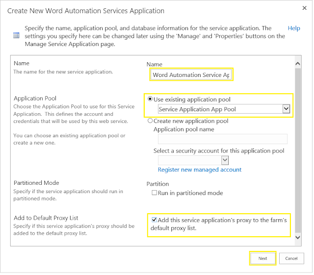 sharepoint 2013 configure word automation service application