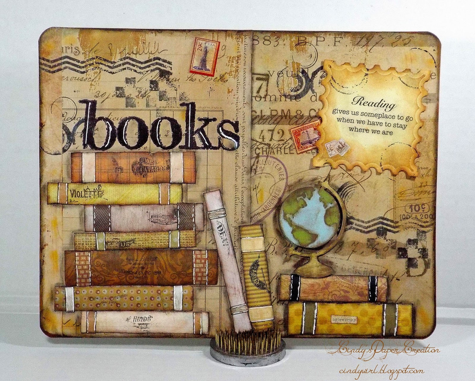 Books Art Journal Page by cindywirl.blogspot.com