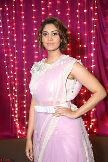 Surabhi in Designer Pink Saree and White Sleeveless Choli at Zee Telugu Apsara Awards 2017 07.JPG