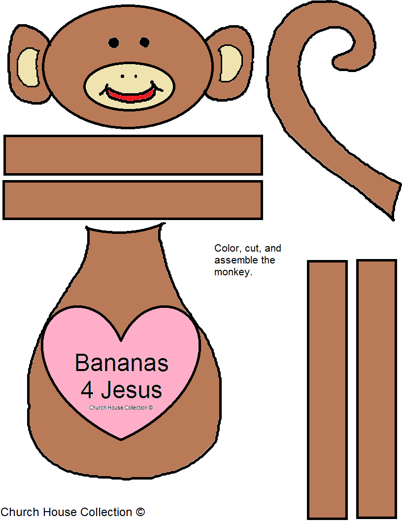 Bananas 4 Jesus Monkey Craft For Valentine's Day for Sunday School, Children's Church or even School