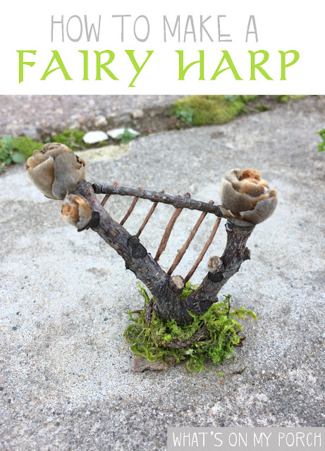 Fairy harp made from twigs and moss