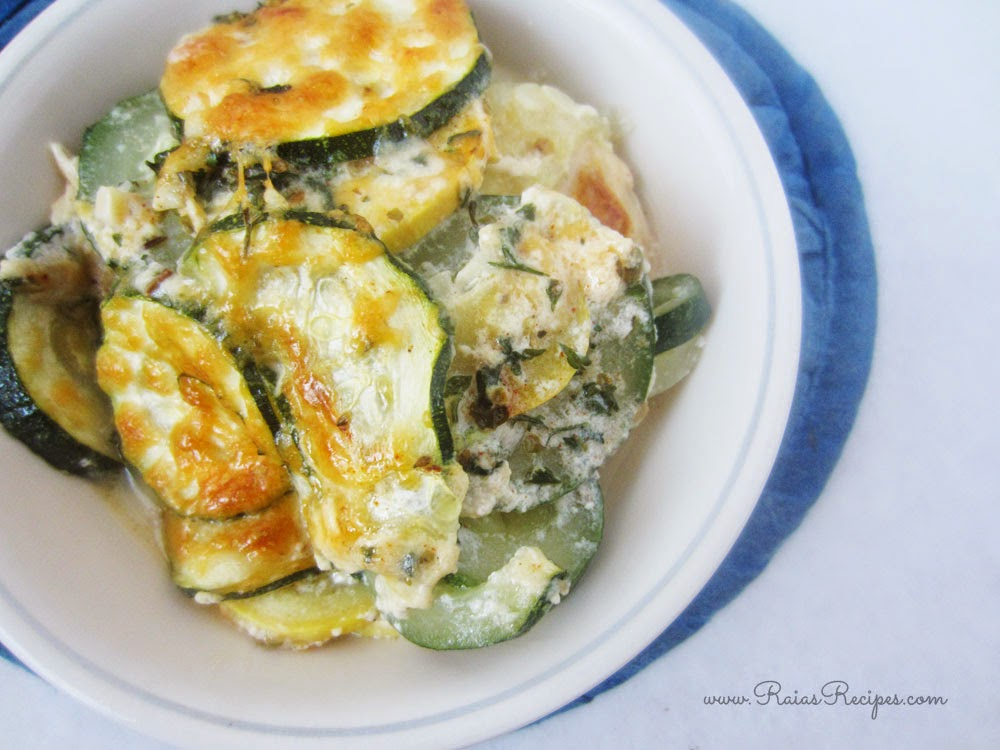 Scalloped Zucchini & Crookneck Squash | grain-free, egg-free, sugar-free | www.RaiasRecipes.com