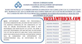 IOB Clerk Selection List 2015