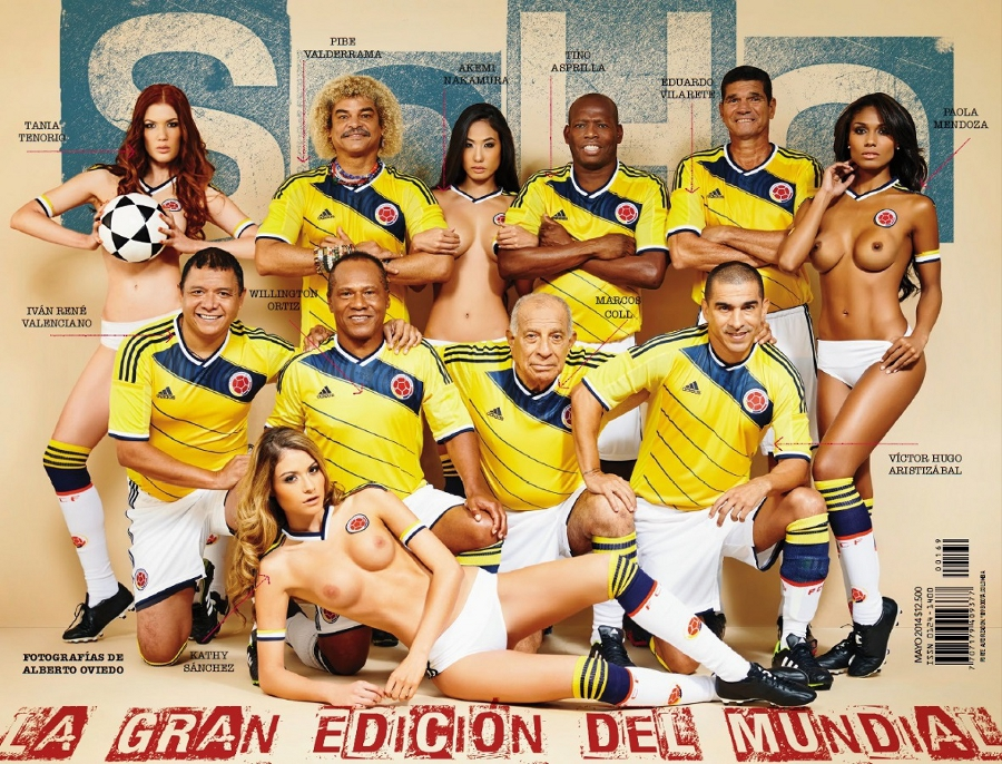 Colombia legends cover adult magazine with topless models