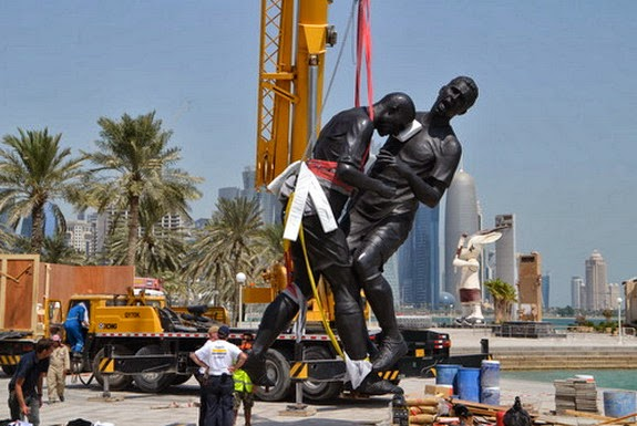 This is the statue depicting Zinedine Zidane headbutt on Marco Materazzi in 2006