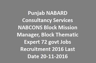 Punjab NABARD Consultancy Services NABCONS Block Mission Manager, Block Thematic Expert 72 govt Jobs Online Recruitment 2016 Last Date 20-11-2016