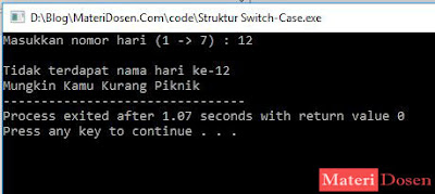 Contoh Program dengan Struktur Switch-Case