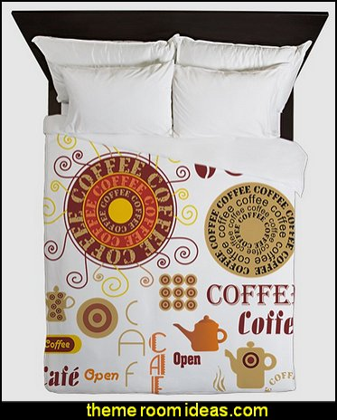 Coffee Cafe Queen Duvet coffee shop theme decorating