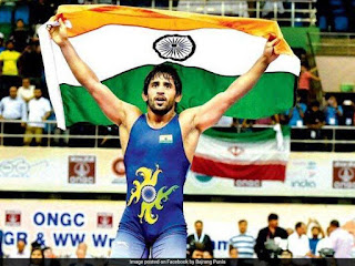 Bajrang Punia wins India's first gold medal