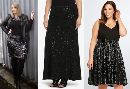 black sequin skirt plus size