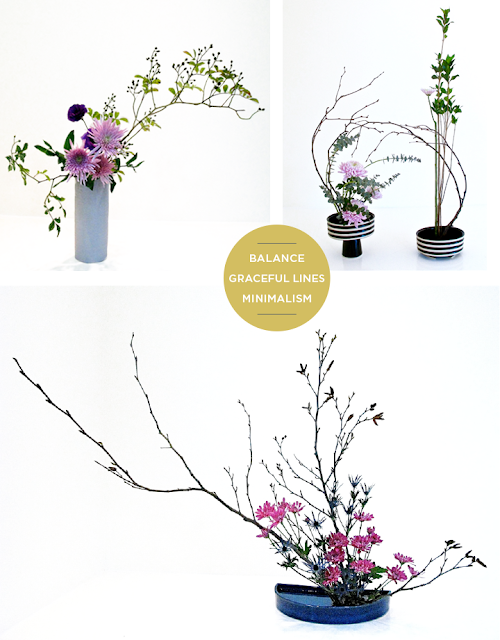 Principles of ikebana flower arranging