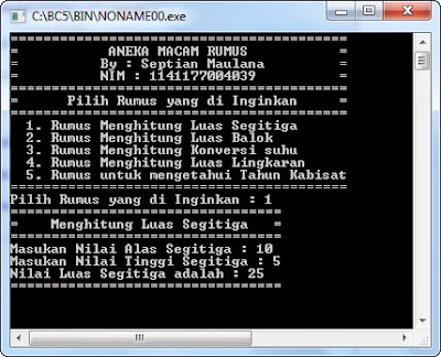 Source Code Program Switch Case Borland C++