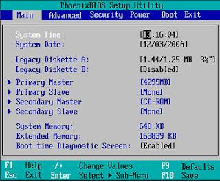 Tampilan Phoenix BIOS