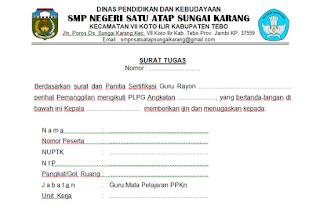 Surat Tugas Mengikuti PLPG Sertifikasi Guru