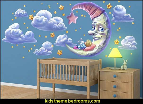 Moon and Star Wall Decal   Nursery Rhyme themed nursery decorating - Moon stars twinkle twinkle baby nursery decorating ideas -  storybook bedrooms - counting sheep baby bedroom ideas Humpty Dumpty decor - Mother Goose - moon stars baby bedding - Moon and Stars themed nursery - Nursery Rhymes wall murals - celestial themed baby nursery - moon stars wall stickers - stars clouds wall decals - moon stars baby bedroom ideas - moon stars nursery decor