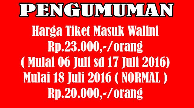 Harga tiket masuk Walini bulan Juli 2016