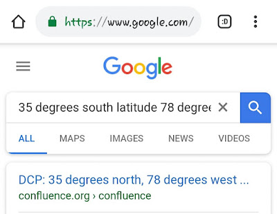 search on 35 degrees south latitude returning on 35 degrees north latitude hits