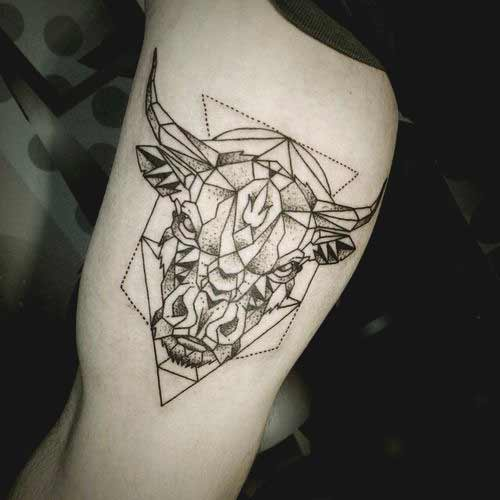 Geometrical Taurus bull head tattoo