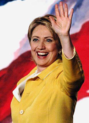Foto de Hillary Clinton feliz por candidatura