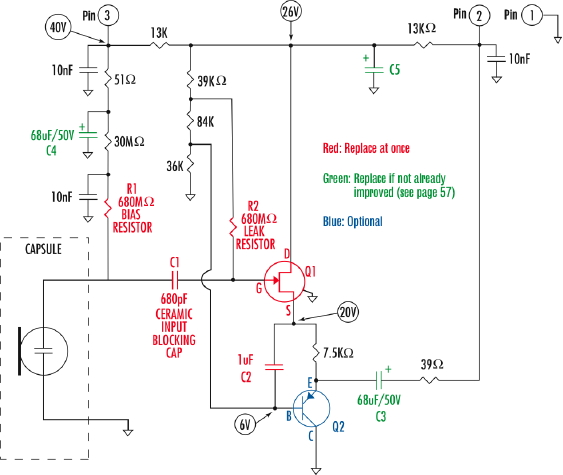 here's his schematic, and then another, almost identical one from  t'internet, with the mods in place  scott dorsey's mods have now become  generally accepted