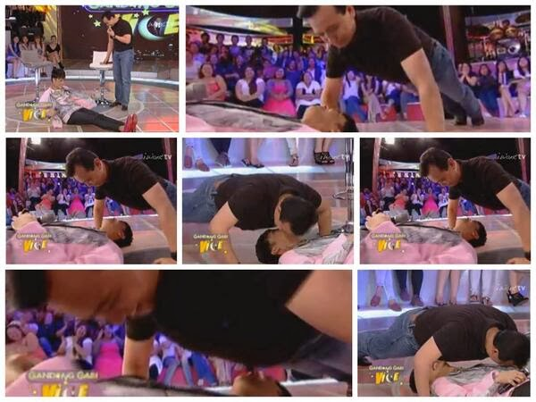 Sen. Antonio Trillanes does push-ups over Vice Ganda