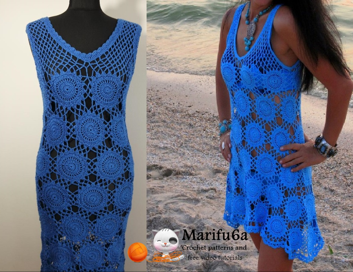 crochet blue dress all sizes pattern