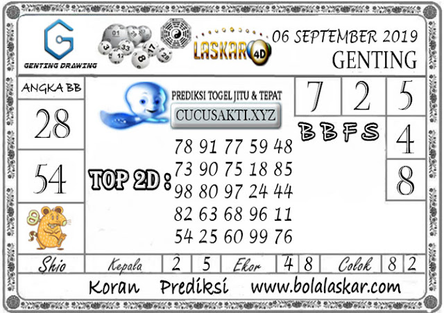 Prediksi GENTING DRAWING LASKAR4D 06 SEPTEMBER 2019