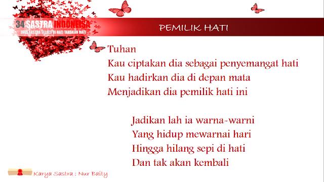 Puisi cinta Pemilik Hati | 34 Sastra Indonesia