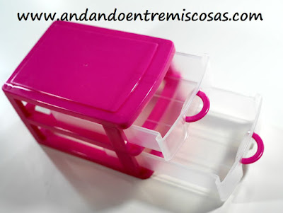 Mini cajonera en color rosa