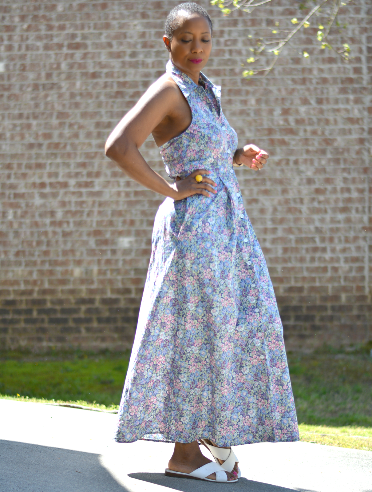 Upsize a shirt dress with a halter refashion to create more room in a too tight dress.