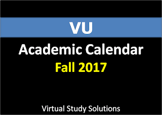 Virtual University Academic Calendar Fall 2017